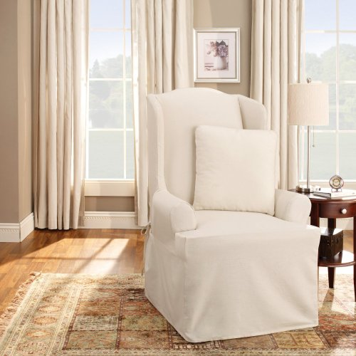Sure Fit Cotton Duck Wing Chair Slipcover, Natural