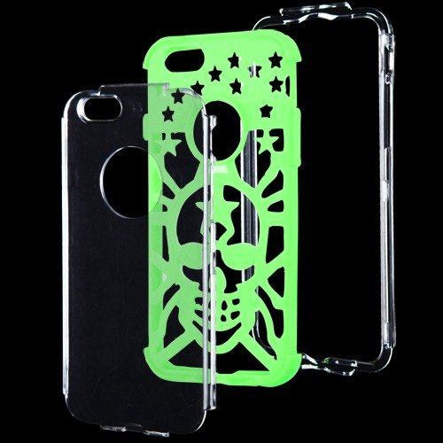Apple Iphone 6 T Clear Electric Green Spider Hybrid Glo Cover Snap On Hard Case Cell Phone Shield Protector Shell From [Accessory Library]
