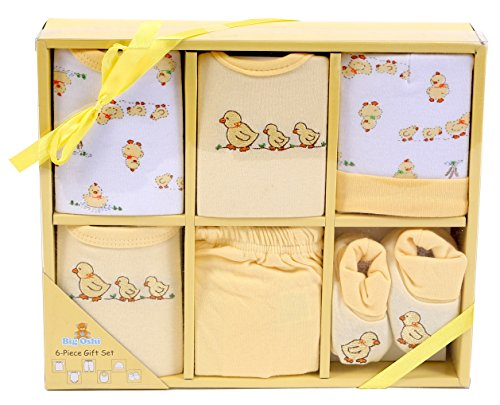 Big Oshi Layette Baby Gift Set, 6 Piece - Gift Boxed - Ready To Go - Perfect Baby Shower Gift - Yellow - 1