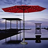 COBANA 9 Ft 32 Solar Powered LED Lighted Outdoor Table Umbrella Aluminum Patio Umbrella, 100% Polyester, Red