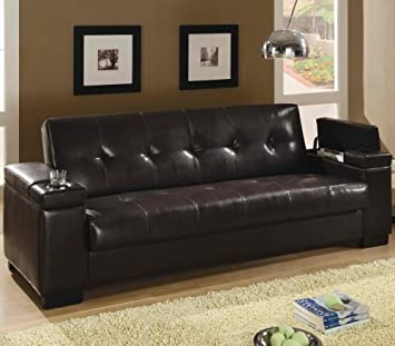 Furniture2go 3F7300143PG Faux Leather Convertible Sofa Sleep with Storage - Sofa Bed