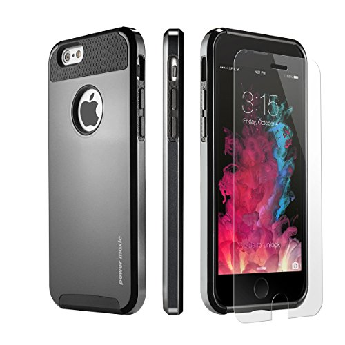 iPhone 6 Case, iPhone 6s Case with [Tempered Glass Screen Protector] PowerMoxie® [DURABLE SLIM CASE] Dual Layer Protection Cover Premium Fit for iPhone 6/6s - Black (Dual Protection compare prices)