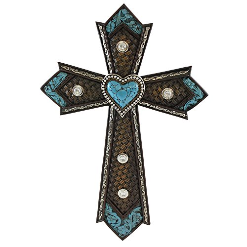 Western Cross Embossed Leather Turquoise Heart, Celtic, Western Style Wall Christian Cross (Big Wrought Iron Clock compare prices)