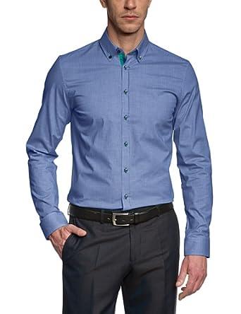 Seidensticker Herren Slim Fit Businesshemd UNO 570638, Gr. Small (Herstellergröße: 38), Blau