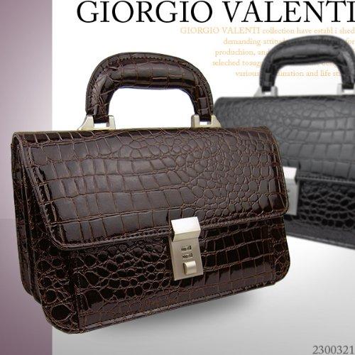 GIORGIO VALENTI(^_^)ジョルジオ バレンチノ エナメルクロコ型押しセカンドバッグ 2300321 (ブラック)