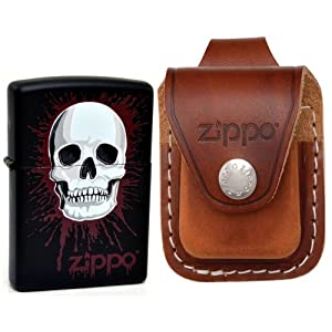 Zippo AD290 Skull Splat Windproof Lighter with Zippo Brown Leather Loop Pouch
