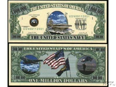 U.S. Navy $Million Dollar$ Novelty Bill Collectible - 1