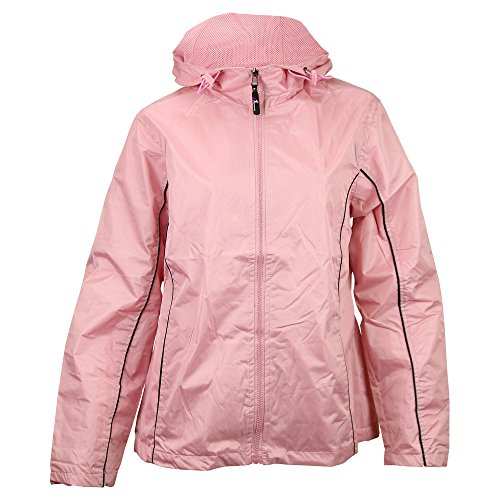i5 Ladies Hooded Smart Jacket Windbreaker (Large, Pink)