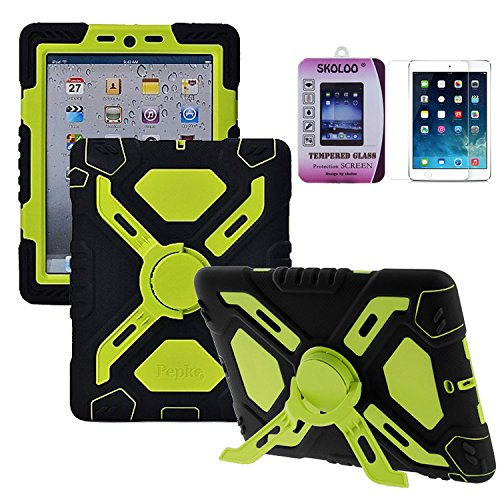 Skoloo Silicone Plastic Kid Proof Extreme Duty Dual Durable Stylish Great Value Protective Back Cover Case with Kickstand and Sticker + Skoloo 9H 0.32mm Tempered-Glass Screen Protector - Rainproof Sandproof Dust-proof Shockproof (Black/green)