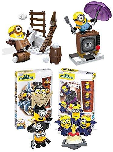 Mega-Bloks-Despicable-Me-Minions-Figure-Building-Toy-204-Piece-Super-Set-Vampire-Surprise-Pirates-Shark-Bait-Silly-TV-Snowball-Fight