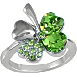 Four Leaf Clover Heart Shaped Swarovski Elements Crystal Rhodium Plated Ring (Green)