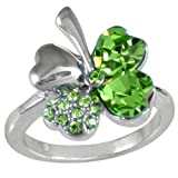 Four Leaf Clover Heart Shaped Swarovski Elements Crystal Rhodium Plated Ring (Green)