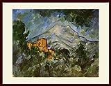 セザンヌ・「サント・ヴィクトワール山とシャトー・ノワール」 プリキャンバス複製画・ 額付き(デッサン額/大衣サイズ)