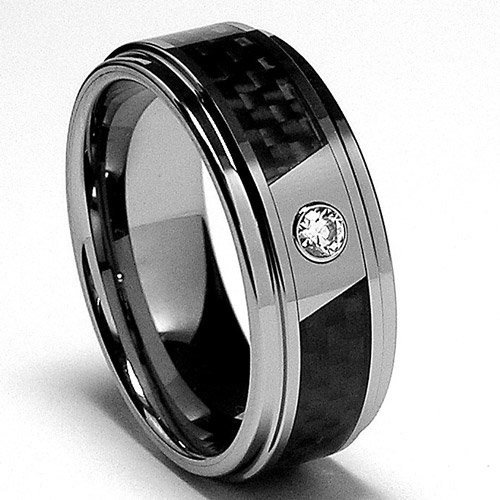 8MM Men's Tungsten Carbide Ring Wedding Band W/ Carbon Fiber Inaly and CZ size 11