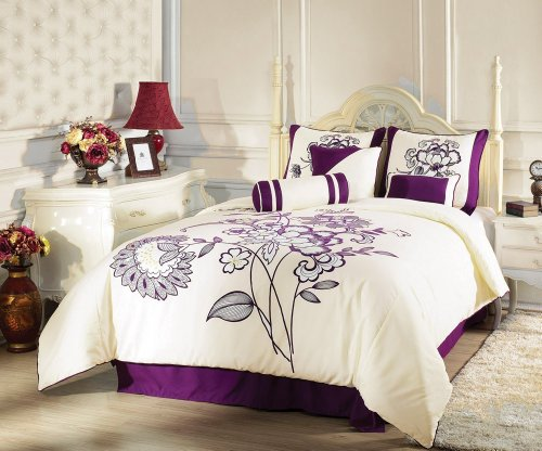 Chezmoi Collection 7 Pieces Beige with Purple Flocking Blossom Floral Duvet Cover Set for King Size Bedding