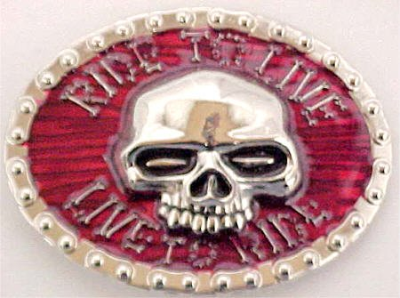 Ride to Live - Live to Ride Skull Belt Buckle Biker Motorcycle