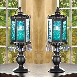 2 Lot Blue Pedestal MOROCCAN BEADED Lanterns Candle Holder Wedding CENTERPIEC