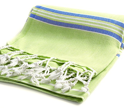 Cacala Pestemal Turkish Bath Towels Striped for Beach Sauna Luxury Peshtemal 37x70 Pistachio Green-Royal (Pic Nic Towel compare prices)