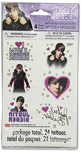 Justin Bieber Tattoo Sheets, 4ct (Justin Bieber Party Pack compare prices)