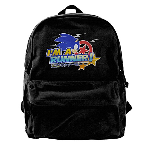 Rihvona Sonic The Hedgehog Sonic Team Logo2 Canvas Backpack (Sonic The Hedgehog Basic Party Pack)