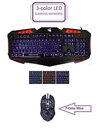 HDStars-Gaming-Keyboard-and-Mouse-Combo-Bundle-Tri-Color-Illuminated-Keyboard-Blue-Red-Purple-7-Color-LED-Mouse-for-Microsoft-Windows-10-81-8-7-Vista-XP-or-Mac-Os-X-Series