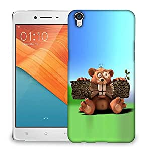 Snoogg Beaver Eating Wood Designer Protective Back Case Cover For OPPO R9 PLUS