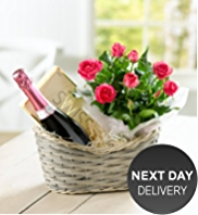 Sparkling Rose Wine & Rose Hamper