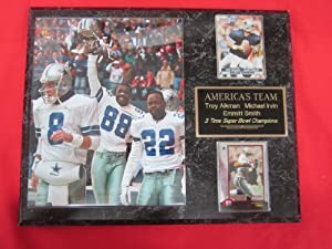 Troy Aikman Emmitt Smith Michael Irvin DALLAS COWBOYS 2 Card Collector Plaque w 8x10... by J & C Baseball Clubhouse
