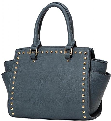 Kukubird Trapezium Metal Stud Faux Leather Classic Tote Large Handbag - DENIM BLUE