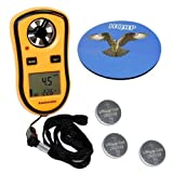 HQRP Handheld Weather Station Digital Pocket Anemometer Beaufort Wind Scale Thermometer & Wind Speed Meter w/ 3 Pcs CR2032 Battery + HQRP Coaster
