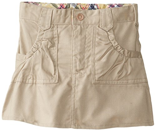U.S. Polo Association Little Girls' Twill Two Pocket Scooter, Khaki, 05