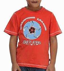 Trmpi Orange Football T-Shirt for Boys (2-10 Yrs)