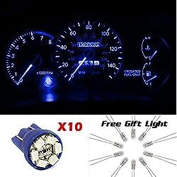 See Partsam 10x T10 168 194 Blue LED Instrument Panel Dash Lights Lamps + Free 10 Mini Bulbs Details