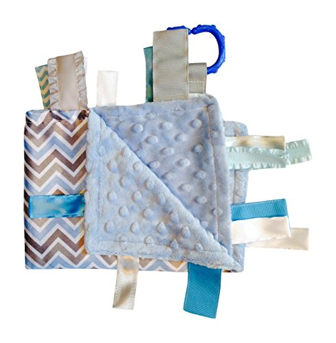"Sensory Baby Boy Tag Blanket, Blue Gray Chevron, 14"" X 18"". For Entertainment, Security, Comfort. Also Used for Special Needs, Autism, Therapy. Ribbons Sewn Shut Into Tabs for Added Security. Made in Usa By Baby Jack Blankets"