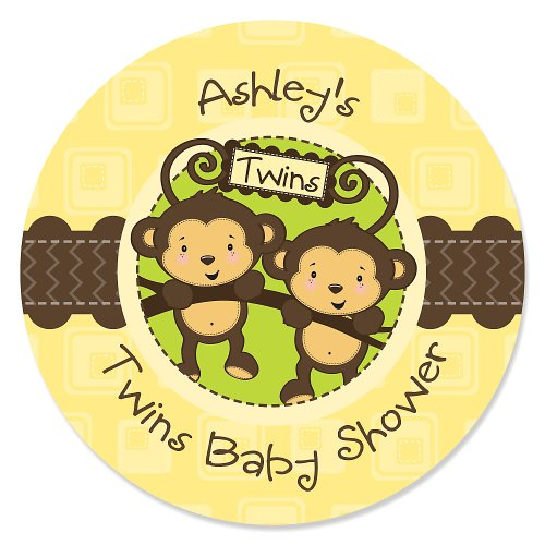 Twin Monkeys Neutral - 24 Round Personalized Baby Shower Sticker Labels front-705380