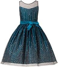 Sweet Kids Girls Blue Icicle Glitter Mesh Overlay Christmas Dress