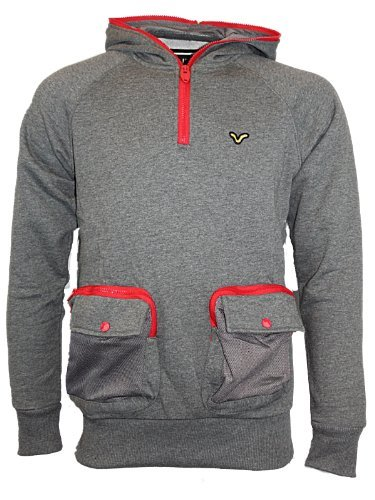 Mens Charcoal VOI Jeans Shadwell Hoody Designer Branded Hooded Jumper Top Size L