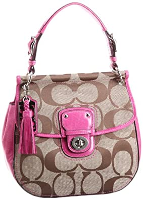 Coach Signature Poppy New Willis Crossbody Bag 19034 Khaki Magenta