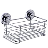 HANEBATH Suction Cup Shower Caddy for Bathroom and Kitchen Storage - Strong Stainless Steel ,Chrome
