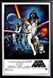 Framed Star Wars: A New Hope Movie (Group, Credits) 24x36 Poster in Matte Black Finish Wood Frame