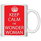 M Print Keep Calm I'M Wonder Woman Mug - Printed In Red - 10oz