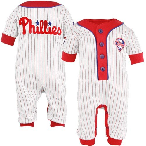 MLB Majestic Philadelphia Phillies Infant White Pinstripe Coveralls (18 Months) at Amazon.com