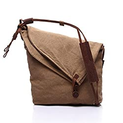 Augur Durable Unisex Zipper Hobo Bag Canvas Shoulder Crossbody Messenger Bags (Camel)