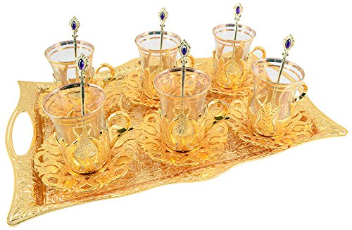 Turkish Tea Set for 6 - Glasses with Brass Holders Lids Saucers Tray & Glass Spoons,25 Pcs (Gold)
