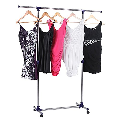 songmics rolling clothes rack adjustable garment rack portable hanging rack for clothes with. Black Bedroom Furniture Sets. Home Design Ideas