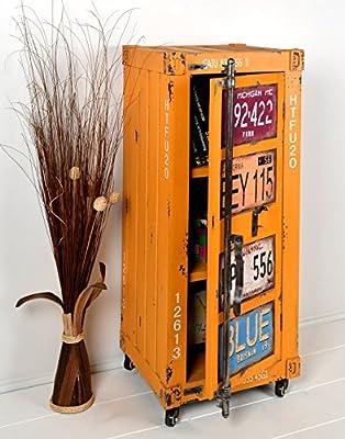 ts-ideen Kommode Schrank Roll Container Shabby Orange Gelb Industrie Design 105 x 44 cm mit Rollen