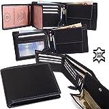 Porte monnaie en cuir, grand format (paysage), couture apparantes - Noir