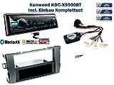 Toyota-Auris-Bj-032007-2011-Autoradio-Einbauset-Grau-inkl-Kenwood-KDC-X5000BT-und-Lenkrad-Fernbedienung-Adapter