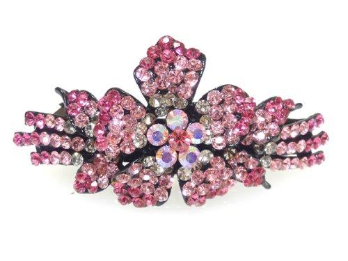 ヘアアクセサリー 大きなお花のピンクグラデーションラインストーン バレッタ バンスクリップ