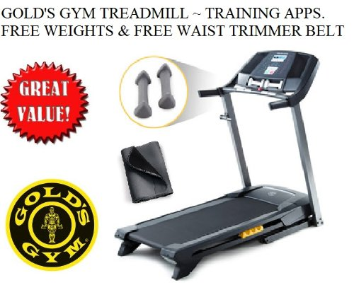 Gold's Gym Workout Trainer 410 Treadmill w/ Weights Workout Apps